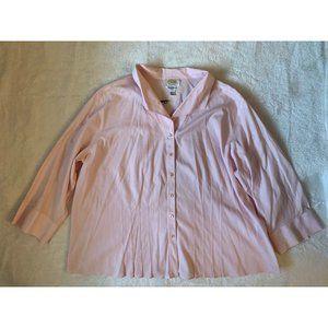 Talbots Woman Button Front Shirt Plus Sz  22W Pink